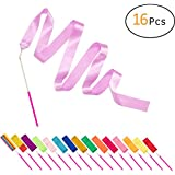 PAMASE 16 Packs Kids Dancing Gymnastics Ribbons - 1.8m Artistic Twirling Streamers with Non-slip Wands for Children