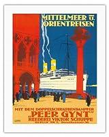 地中海とオリエント - 海運会社ビクターSchuppe - ツインスクリュースチーマーペール・ギュント上の地中海とオリエントクルーズ - ビンテージな遠洋定期船のポスター によって作成された ルドルフ・リュファー c.1925 - キャンバスアート - 51cm x 66cm キャンバスアート(ロール)