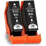 【森下問屋】KUI-BK-L(ブラック) お得な2本セット 増量タイプ ISO14001/ISO9001認証 エプソン用互換インクカートリッジ 残量表示機能付