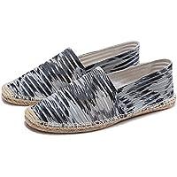 ZestOne Men's Classic Stripe Canvas Flat Espadrilles Minimalist Slip-on Loafer Summer Shoes