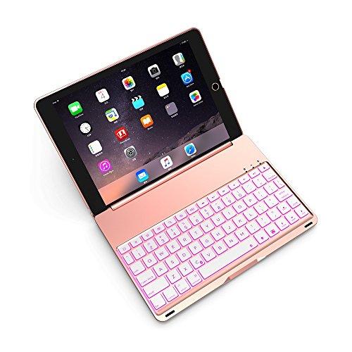 【マーサリンク】F8S PRO iPad Pro 9.7インチ/Air2専用 Bluetooth ワイヤレス キーボード ハード ケース ノートブックタイプ 7カラーバックライト付 オートスリープ機能(ブラック、シルバー、スペースグレー、ゴールド、ローズゴールド)5カラー選択 (ローズゴールド)