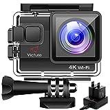 【改良版】Victure 4K アクションカメラ WiFi搭載 2000万画素 UHD 40M 防水カメラ 2個1050mAh電池 充電器付き タイムラプス動画 手振れ補正 170度広角 レンズ画角調節可能 HDMI出力 複数アクセサリー バイク/自転車/車に取り付け可能