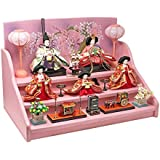雛人形 ひな人形 焼桐三段飾り (ピンク木目焼桐)