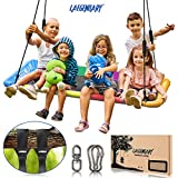 150x80 cm Giant Platform Tree Swing for Kids and Adults | Outdoor Indoor Hammock Swingset Outside Accessories | 2 Tree Straps, 2 Carabiners, 1 Swivel | 160 kg Capacity Tire Swings | Durable Steel Frame