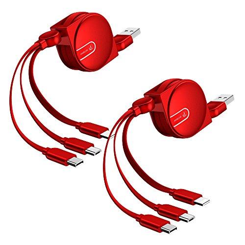 OATSBASF 【2個入り】充電ケーブル 3in1 巻き取り 1m タイプcケーブル 充電ケーブル iPhone対応 USBケーブル 1本3役 携帯ケーブル コンパクト usb type c 巻き取りスマホ充電ケーブル 3本(2個入り-レッド1m)