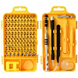Rimposky 110 in 1 Screwdriver Set,Professional Multi-function Screwdriver Magnetic Repair Tool Kit Compatible with Cell Phone, iPhone, iPad, Watch, PC, Laptop and more.(Yellow)