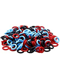 ZXUEZHENG 150 Pack Soft Stitch Ring Markers for Knitting Crochet Etc, (Small Size for Needle Sizes 0-8, Orange, Yellow, Green), Red/Blue/Black, Small (Needle 0-8)