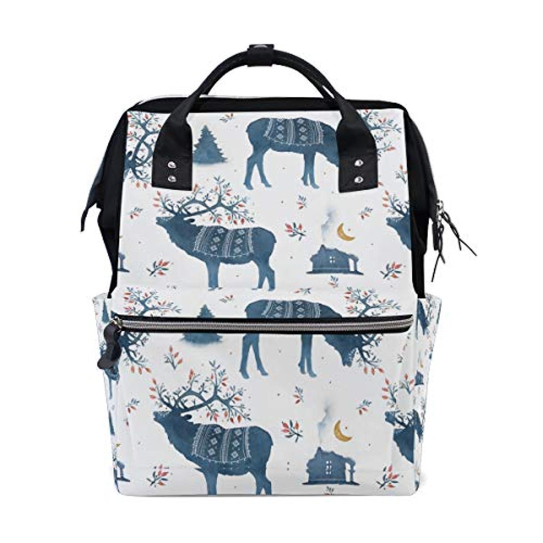 ママバッグ マザーズバッグ リュックサック ハンドバッグ 旅行用 鹿柄 民族風 ファション