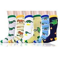 Deer Mum Boy's Cartoon Dinosaur Pattern Knee High Socks (8 Pairs)