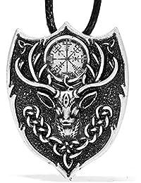 ケルトLegendary AegishjalmurペンダントネックレスNorse Viking Icelandic Fire Symbol Amulet Stag動物電源4022