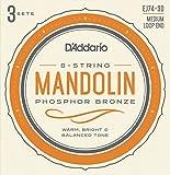 D'Addario ダダリオ マンドリン弦 フォスファーブロンズ Medium .011-.040 EJ74-3D 3set入りパック 【国内正規品】