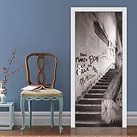 3Dドアアートステッカー、階段落書きアート防水デカール自己接着ドアの壁紙壁画、寝室用リビングルームのインテリアドアの装飾子供のギフト88 x 200 CM