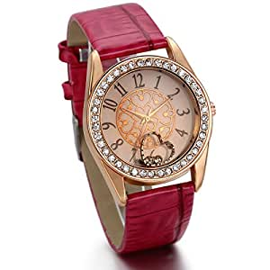 JewelryWe バレンタインデー 愛の証に:レディース ガールズ 可愛い 腕時計,ハート チャーム 腕時計 ブラックベルト×ピンクゴールド文字盤 革 ベルト