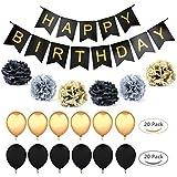 誕生日 飾り付け 装飾 セット バースデー ガーランド ペーパーフラワー フラッグガーランド ブラック