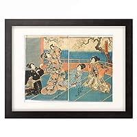 歌川 国貞 Utagawa Kunisada 「Domestic Scene: The Small Cherry Tree is the Favourite in the Garden of Cherry Blossoms. Around 1847」 額装アート作品