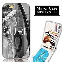 301-sanmaruichi- iPhone7 ケース iPhone7 ケース ミラーケース 鏡付き ミラー付き カード収納 おしゃれ サーフィン 海 夏 南国 ロゴ ガール B プリント 電磁波干渉防止シート付