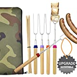 Wup Extendable Rotating Marshmallow Roasting SticksSet of 5 Smores Sticks for Fire PitCampfire Roasting Sticks 30 inch