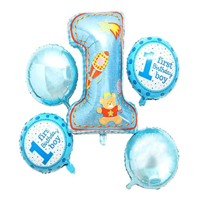 Blesiya 5点セット バルーン 風船 1歳 誕生日 ベビーシャワー/パーティー/誕生日/お祝い 飾り デコレーション 2タイプ選べ - 青