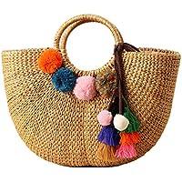 Summer Beach Bag Women Straw Handbag Top Handle Shoulder Bag Travel Tote Purse