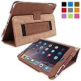 英国Snugg社製 Apple iPad Mini 4 用 レザーケース - スタンド機能・生涯補償付き (ブラウン)