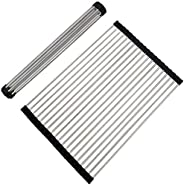 Large Dish Drainer Rack,Stainless Steel Over the Sink Kitchen Countertop Folding Roll Up Dish Drying Rack