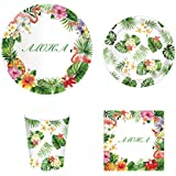 CC HOME Hawaiian Luau Aloha Party Supply Pack - Serves 16 - Includes Paper Plates, Napkins, and Cups , Tropical Palm Leaves Flamingo Pineapple Party Decorations,Hawaiian Luau Flower Leis Favor for Beach ,Pool,Summer,Wedding ,Bridal Shower ,Baby Shower ,Birthday Party Decorations, Multi Color