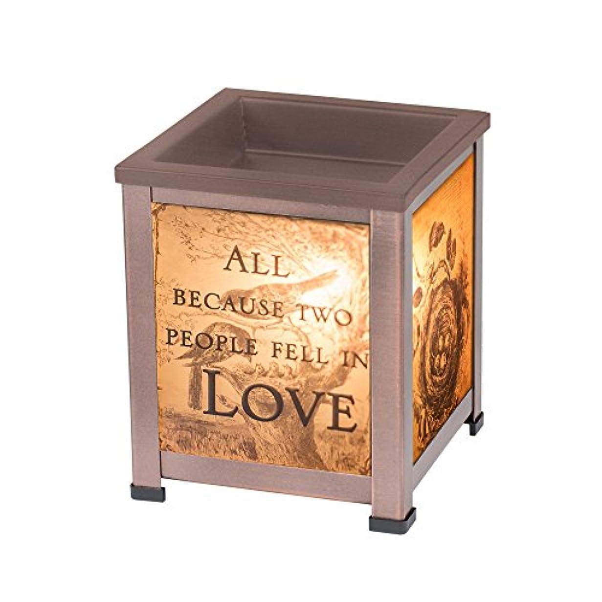 申し込むマウスピースの中でelanze Designs 2人でLove銅トーンメタル電気ワックスTartとオイルガラスランタンWarmer