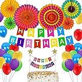 カラフル誕生日飾り ミックスバルーン 多彩ペーパーファン バルーン 風船 ケーキトッパー ガーランド 女の子 可愛い スイーツ 23つセット