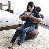 [山善] 座椅子 (回転座椅子) ゆったりサイズ 厚さ19cm 猫背対策(ハグするアーム) リクライニング(頭部・背部・アーム) 完成品 ブラウン IHZ-65(DBR)