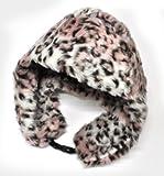PLATA アニマル 柄 ファー 防寒帽子 耳あて 付き ヒョウ柄 【 ピンク 薄ピンク pink 】 2WAY 頭回り(約)65cm