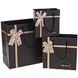 (pkpohs) ギフトバッグ [5枚セット + メッセージカード] 選べる サイズ カラー プレゼント ラッピング 紙袋 手提げ袋 贈り物 ギフト (L, ドットリボンブラック)l