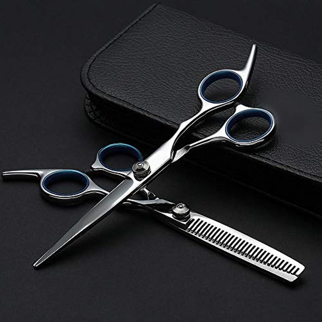 狂乱うめきキャプチャー6インチプロフェッショナル理髪セット、ハサミ+フラットハサミ モデリングツール (色 : Silver)