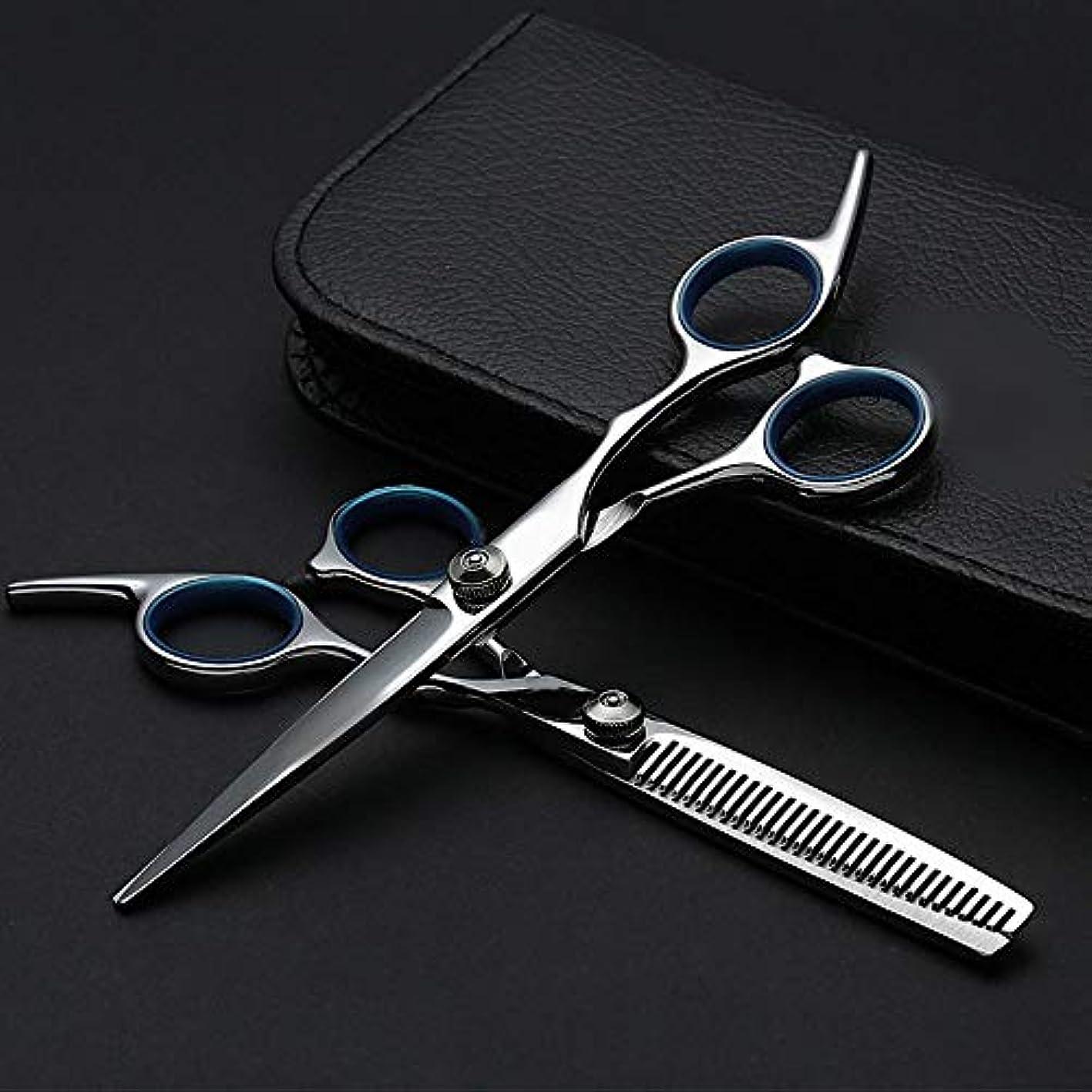 アクセスできない出発する居間6インチプロフェッショナル理髪セット、ハサミ+フラットハサミ モデリングツール (色 : Silver)
