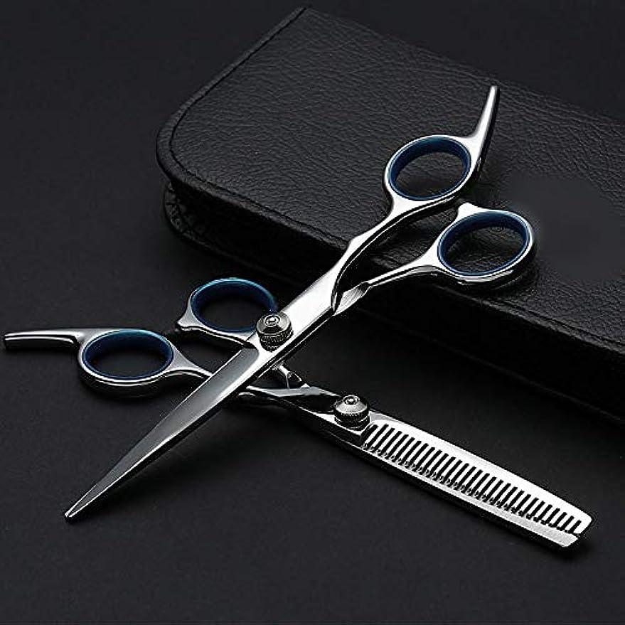 錫辞任する部6インチプロフェッショナル理髪セット、ハサミ+フラットハサミ モデリングツール (色 : Silver)