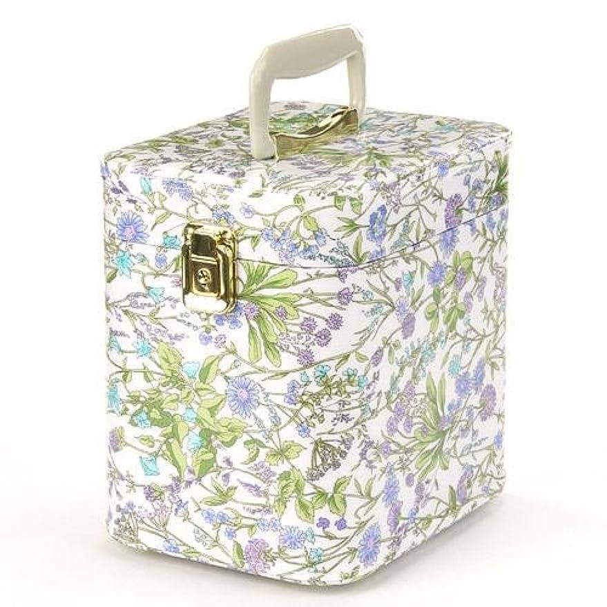 テクスチャー貸す詩人日本製 メイクボックス トレンケース ハーブガーデン 7寸 スカイブルー  (鍵付き/コスメボックス)