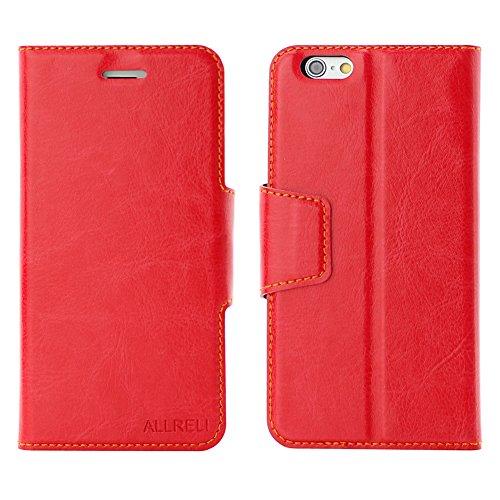 aLLreli【iPhone6ケース】【iPhone 6 革ケース】手帳財布型・レッド