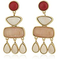 Lucky Brand Womens Set Stone Statement Earrings, Gold, One Size
