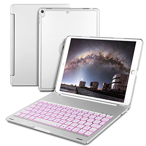 IVSO IPAD PRO 10.5 キーボード 7色バックライト式 APPLE iPad Pro 10.5 キーボード ケース 手帳式 スタンド機能 オートスリープ機能付き ipad 一体型 Bluetooth ワイヤレスキーボード カバー ipad pro 10.5 アルミ合金製キーボードケース シルバー