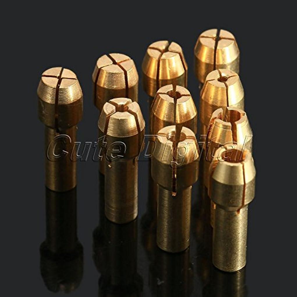 操縦する一時解雇する路地Zuwin(TM)10個入り0.5 / 0.8 / 1.0 / 1.2 / 1.5 / 1.8 / 2.0 / 2.4 / 3.0 / 3.2ミリメートルミニドリル真鍮コレットチャックドレメルロータリーツールドレメルアクセサリー4.8ミリメートルのための