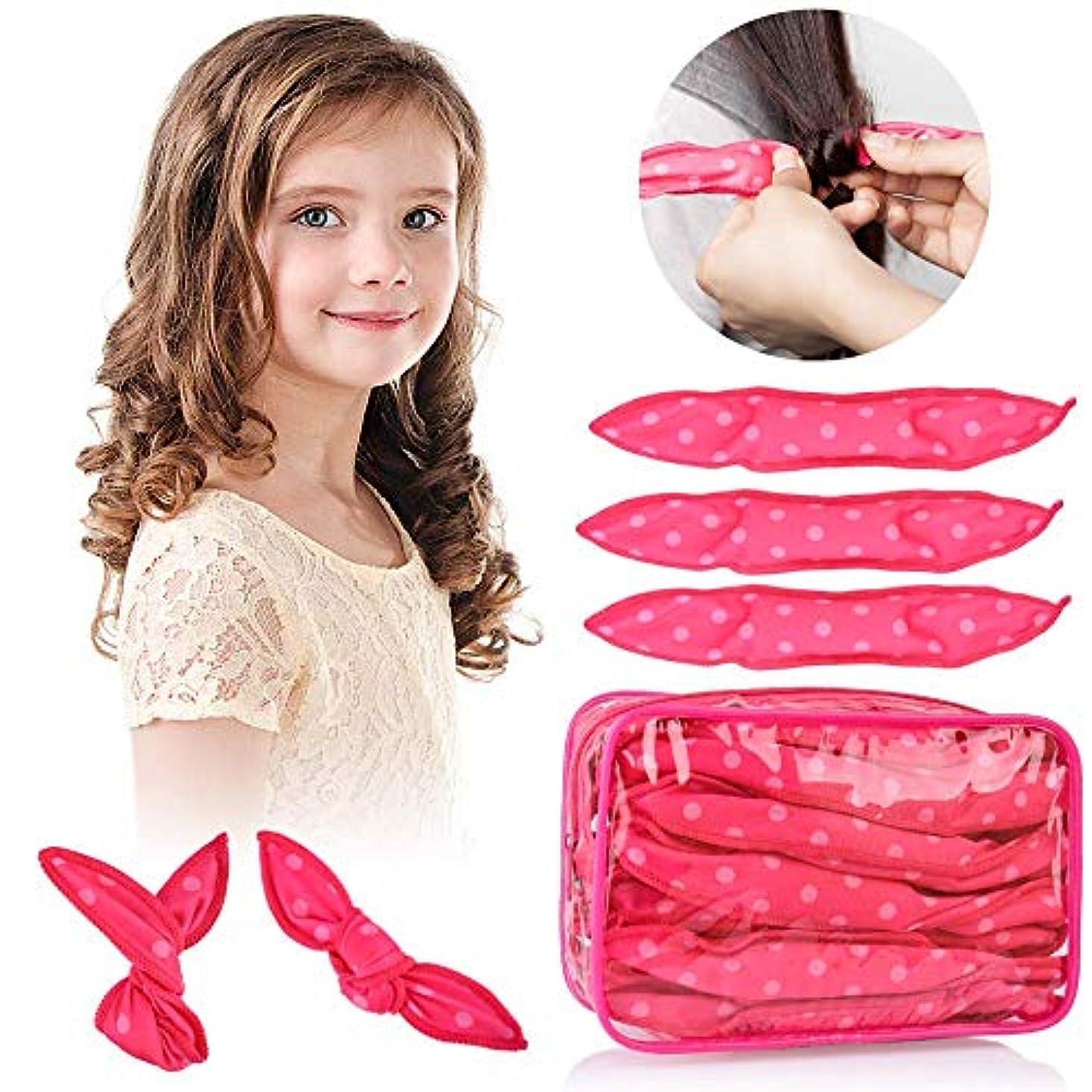 解明マークダウン方向HailiCare ヘアカーラー スポンジ ヘアカーラーマジック 手巻きカーラー 30枚 ヘアケアスタイリング 巻き髪 前髪 寝ながら ヘアスタイル 可愛い 髪に無害 ピンク (ピンク)