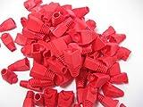 カラー 選べます RJ 45 LAN ケーブル コネクタ カバー 100個 セット (赤)