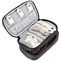 ProCase Jewelry Case Travel Organizer Bag Soft Padded Double Layer Jewelry Carrying Pouch Portable Jewelry Storage Holder for Earrings Rings Necklaces Bracelet Watch and Chains ?Black