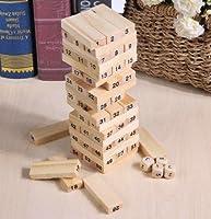 Taka Co木製Stacker木製Building木製タワーブロックおもちゃDomino StackerボードゲームFamily /パーティー面白い抽出建物ブロックゲーム