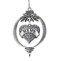 InspiredシルバーMemeパヴェハートHolidayクリスマスTree Ornament withクリスタルラインストーン