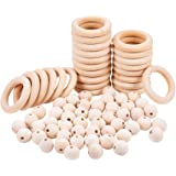 PH PandaHall 50pcs Macrame Wood Beads, 25pcs Wooden Rings Circles for DIY Pendant Connectors Jewelry Making Macrame Wall Hang