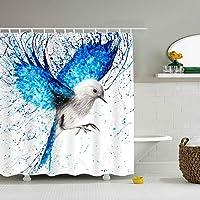 シャワーカーテン スパッタブルースプレー塗装鳥の羽 防水 防カビ加工 カーテン 特別なデザイン バスルーム 間仕切りにも バスルーム プラスチックフック付属 お風呂 洗面所 間仕切り 洗濯可能