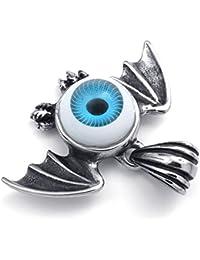 [テメゴ ジュエリー]TEMEGO Jewelry メンズステンレススチールヴィンテージペンダントゴシック悪魔の目コウモリの翼ネックレスチェーン、ブラックブルーシルバー[インポート]