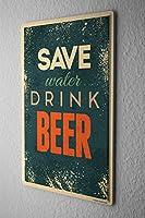 ブリキ看板 Tin Sign Beer Nostalgic Save water