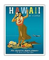 ハワイ州クリッパー - ハワイアンフラガール - パンアメリカン航空 - ビンテージなハワイの旅行のポスター によって作成された ジョン・アサートン c.1950s - アートポスター - 41cm x 51cm