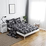 SDIII 4PC Black and White Skull Bed Sheets Microfiber Queen Skeleton Bedding Sheet Sets with Flat Sheet, Fitted Sheet and Pil